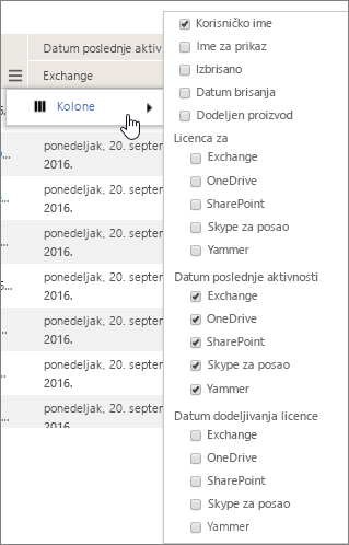 Opcije filtriranja na nivou korisnika