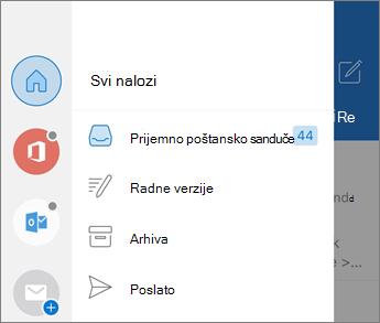 Dodavanje naloga u programu Outlook