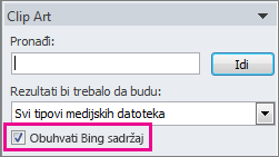 Obuhvati polje za potvrdu Bing sadržaja