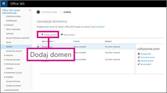 "Kliknite na dugme ""Dodaj domen"" na stranici ""Office 365 domeni"""