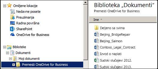 Fascikla za pripremu datoteka nakon njihovog premeštanja iz sinhronizovane SharePoint OneDrive for Business fascikle