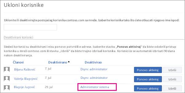 Snimak ekrana koji prikazuje korisnika uklonjenog od strane administratora sistema.