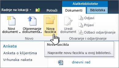 "Traka ""Dokumenti"" SharePoint 2010 sa novu fasciklu istaknuta"