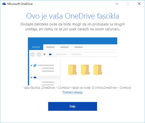 """Snimak ekrana """"Ovo je OneDrive fascikla"""" u čarobnjaku """"Dobro došli u OneDrive"""""""