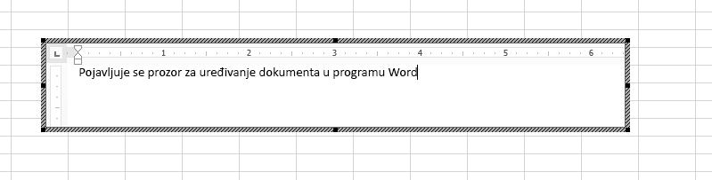 Možete da uredite ugrađeni Word dokument direktno u programu Excel.