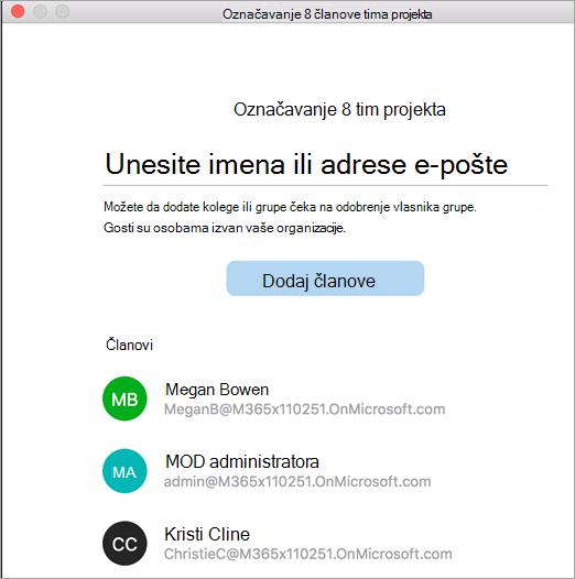 Prikaz programskih dodataka unutar grupe