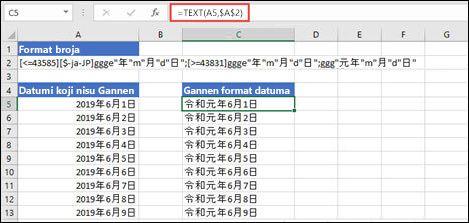 Slika primene Gannen formata sa funkcijom TEXT: = TEXT (a1, $B $2) gde B2 sadrži nisku Gannen formata.
