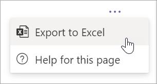 """Izaberite stavku """"Izvezi"""" Excel padajućeg meniji u padajuću meniju """"Više opcija"""" u izveštaju"""