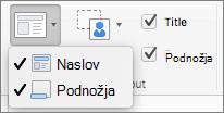 Snimak ekrana prikazuje opcije naslova i podnožja dostupnih u grupi master rasporeda.