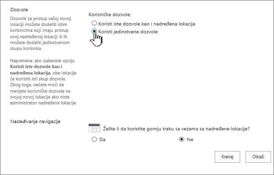 """Ekran """"Dodavanje poslovnog wiki sajta"""" sa istaknutim jedinstvenim dozvolama"""