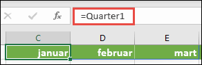 """Koristite imenovani spektar niza u formuli, kao što je = Kvartal1, gde je Kvartal1 definisan kao = {""""januar"""", """"februar"""", """"Mart""""}"""
