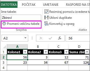 """korišćenje opcije """"promena veličine tabele"""" iz """"Alatki za tabele"""""""