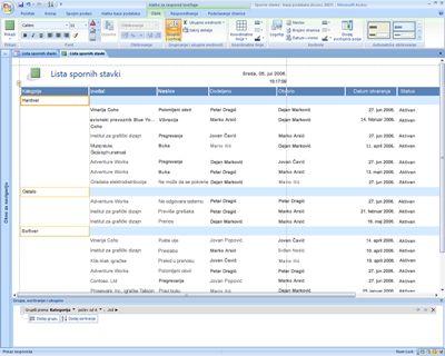 Uređivanje izveštaje u programu Office Access 2007