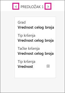 Opcije predloška na kartici sa podacima