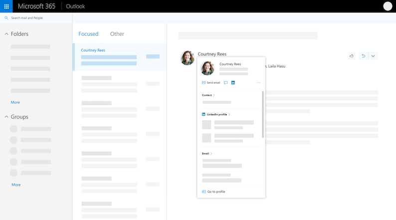Kartica profila u programu Outlook na vebu – proširenog prikaza