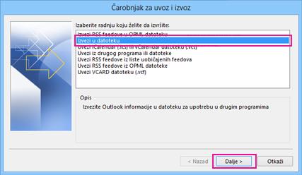 """Čarobnjak za izvoz u programu Outlook – """"izvoz u datoteku"""""""