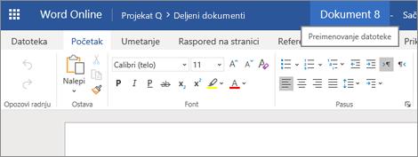 Klik na naslovnu traku radi promene imena dokumenta u programu Word Online