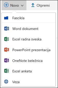 Office 365 Kreiraj novu fasciklu ili dokumentu