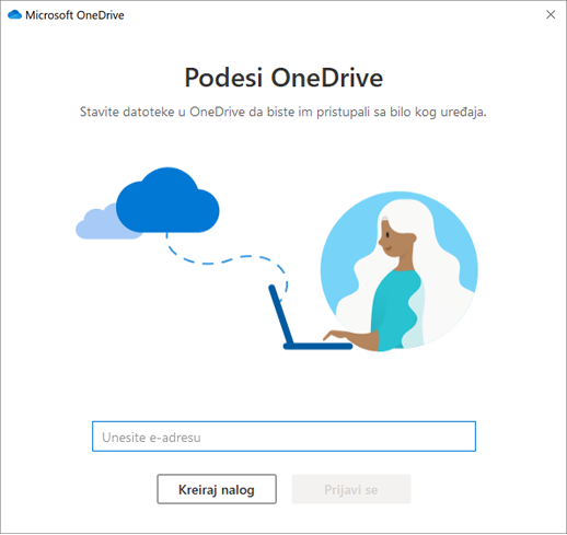 Snimak prvog ekrana procesa podešavanja usluge OneDrive