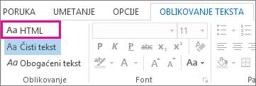 "Opcija HTML formata na kartici ""Oblikovanje teksta"" u poruci"