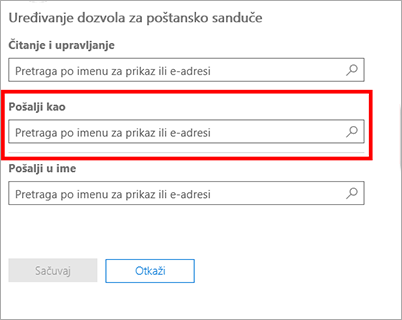Snimak ekrana: Dozvoljavanje drugom korisniku da šalje e-poštu kao ovaj korisnik