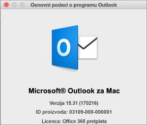 """Ako imate Outlook putem usluge Office 365, u polju """"Osnovni podaci o programu Outlook"""" piše """"Pretplata na Office 365""""."""