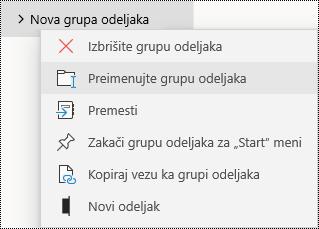 Preimenovanje grupa odeljaka u aplikaciji OneNote za Windows 10