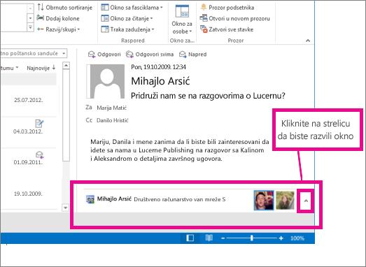 Programski dodatak Outlook Social Connector podrazumevano je umanjen