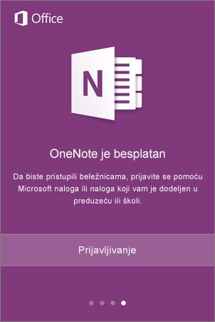 Ekran za prijavljivanje u aplikaciju OneNote