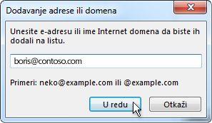Dijalog za dodavanje adrese ili domena