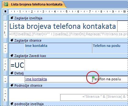 Izveštaj koji sadrži okvir za tekst sa nepravilno napisanim identifikatorom