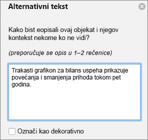 Dijalog Excel 365 pisanje alternativni tekst za izvedene grafikone