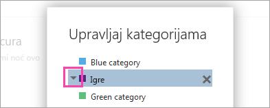 Snimak ekrana na strelicu pored kategorije