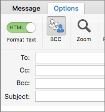 """Da biste uključili polje Bcc, otvorite novu poruku, odaberite karticu """"Opcije"""" i izaberite """"Bcc""""."""