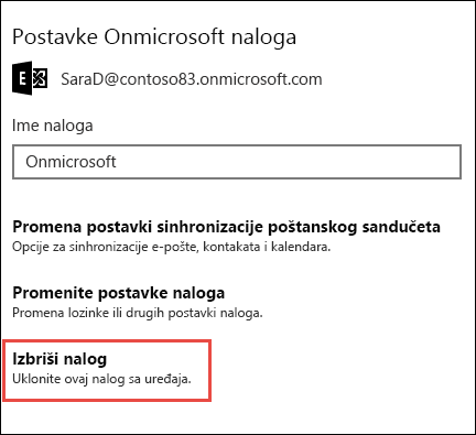 Brisanje naloga u aplikaciji Pošta