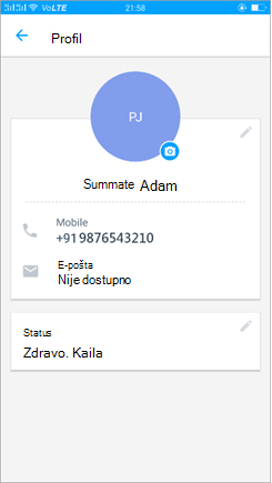 Snimak ekrana profila za ažuriranje postavke statusa