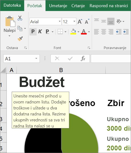 Klip ekrana Excel korisničkog interfejsa koji prikazuje ugrađena uputstva