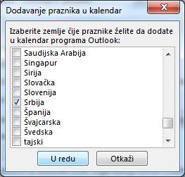 Dijalog izbora praznika zemlje/regiona