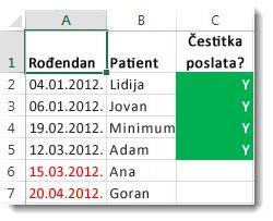 Uslovno oblikovanje uzorka u programu Excel
