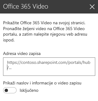Snimak ekrana dijaloga za adresu video zapisa u usluzi Office 365 u sistemu SharePoint.