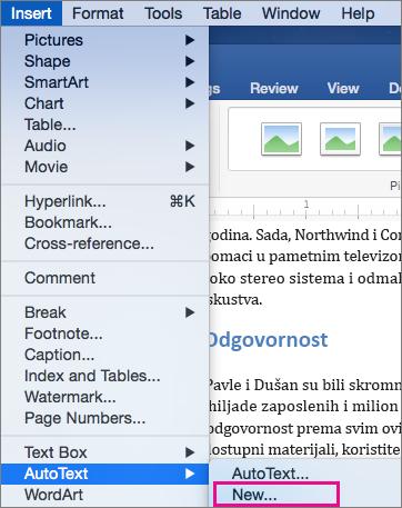 Umetanje meni sa AutoText > novo je markirana.