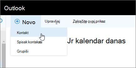 Snimak ekrana nove komande sa kontaktom izabran