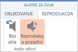 Reprodukovanje muzike u pozadini