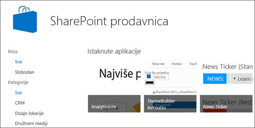 Prikaz izbor aplikacije SharePoint prodavnice