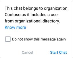 Snimak ekrana koji prikazuje obaveštenje da ćaskanje predstavlja ćaskanje u organizaciji