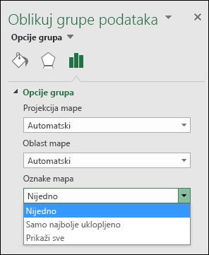 Opcije oznaka mape Excel grafikona