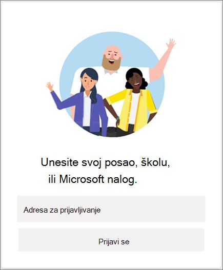 Prijavljivanje u Microsoft Teams
