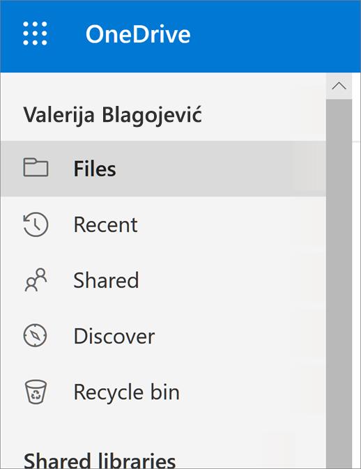 """Meni """"Prikaz"""" u usluzi OneDrive"""