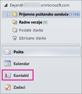 """Da biste videli kontakte, odaberite stavku """"Kontakti"""" u dnu menija za navigaciju u programu Outlook."""