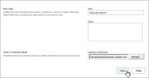 Aplikacija dijalog nove ime i datoteke lokaciju popunjene uvoz istaknuta
